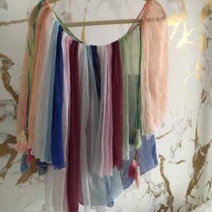 Multi color blouse with tassels